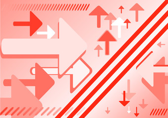 Abstract reflected arrows red background