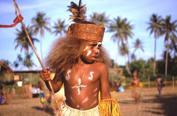 Fototapeta Jeune garçon, tribu de Tiéti, Nouvelle-Calédonie obraz