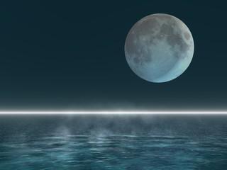 Moon over the deep sea