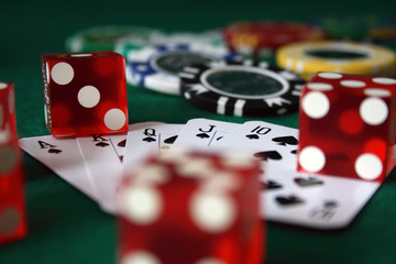 playing cards, poker chips and dice