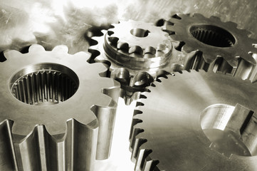 gear machinery in metallic brown
