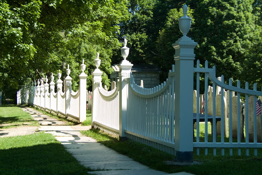 Colonial White Fence in Bennington Vermont