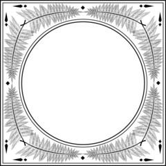 fern square black on white