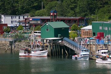 Fishing boats moored in Juneau,, Alaska harbor