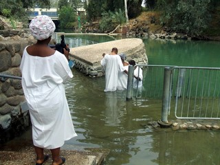 People baptizing in Jordan River/Holy Land/Israel