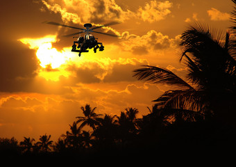 Photorealistic 3D render of Apache helicopter at sunset.