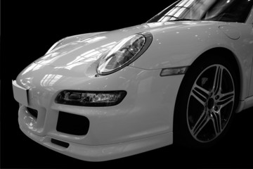 Front of white sports car