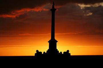 Trafalgar Square at sunset