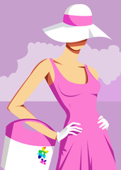 Woman wearing sun hat, hands on hips