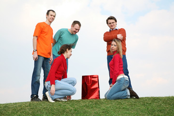 group of people with shopping bag