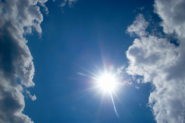 An image with cloud and sun on the  sky y
