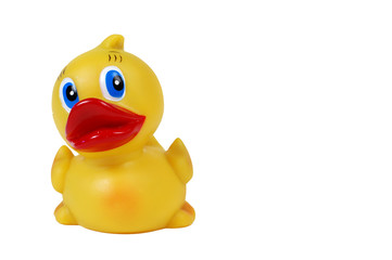 A close-up of a rubber ducky bath toy, isolated on white.