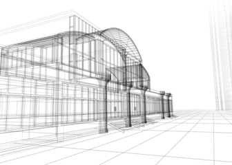 3D wireframe of office building. Concept - modern architecture