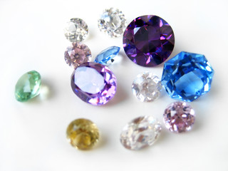 Multicolor gemstones close-up