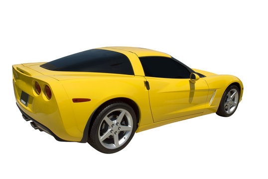 Yellow sports car isolated on a white.