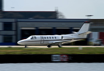 corporate jet taking off