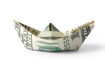 ship from a money isolated on white (contains clipping path)