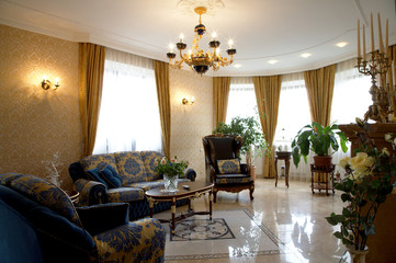 Beautiful armchair in a room to rich hotel