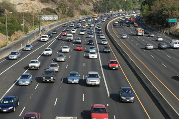 Traffic on the Hollywood 101 freeway. Los Angeles, Calif, USA