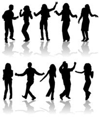 Vector silhouettes dancing man and women, illustration
