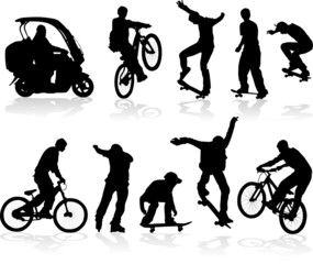 Vector silhouettes man on roller, bicycle, scooter, skateboard
