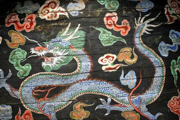 Dragon painting at ceiling