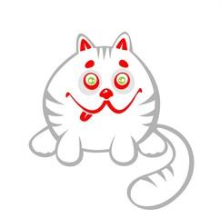 White amusing cat