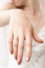 Bride hand closeup. Bright white color.