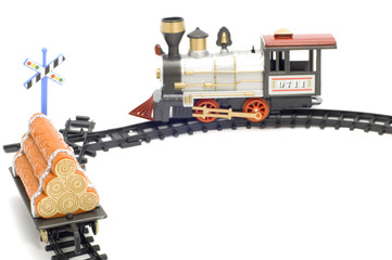 series object on white toy - railway engine and branch line