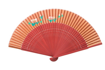 A red Asian fan wit a flower pattern, isolated on white.