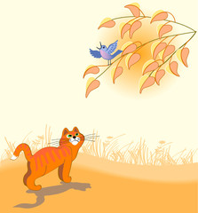 The red cat looks at a dark blue bird on a tree
