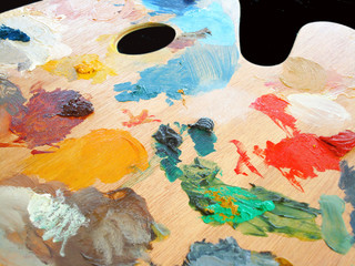 Artist's palette in use