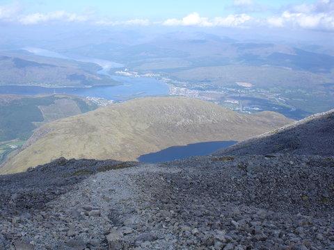 View of lake on Ben Nevis