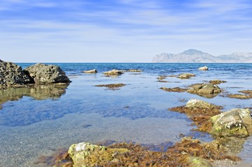Sea landscape. A sea bay with picturesque mountains