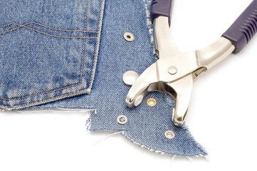 series object on white - tool for jeans