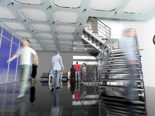 the modern  office hall interior with stairs and moving people