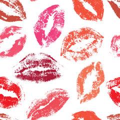 Seamless pattern, print of lips, vector