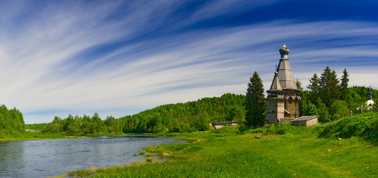 Church on coast of the river
