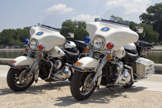 Two Secret Service motorcycles in Washington, DC.