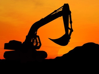 Heavy excavator over orange background 3d