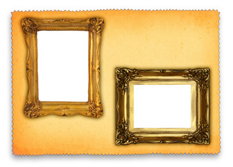 two hollow antique frames against retro paper background