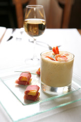 Food, Soup-cream with Prawn and Meat with Peach