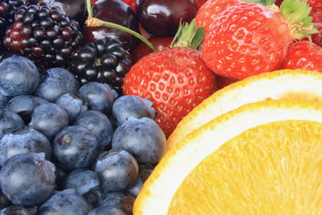 Berries and an orange