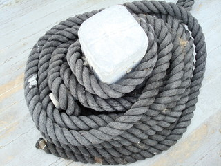 Rope on deck of boat / ship