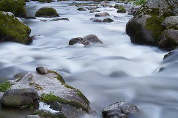 kleiner Flusslauf mit vielen Steinen und Felsen
