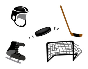 Ice Hockey Icons with Clipping Paths
