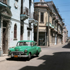 Garden Poster Cars from Cuba the car is parked in old havana downtown