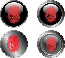 4 Black Web buttons with fingerprints on them