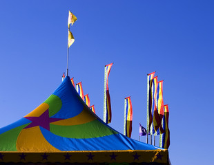 Carnival tent and flags