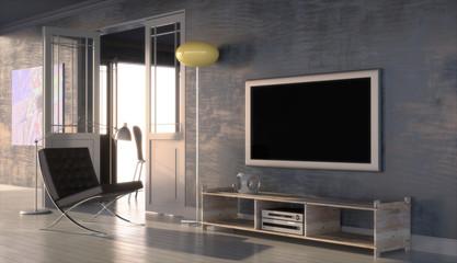 Modern interior with plasma screen